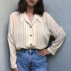 [vintage] 70s striped semi-sheer collared blouse